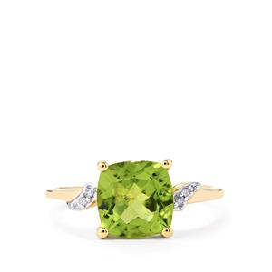 Changbai Peridot Ring with Diamond in 10k Gold 2.20cts