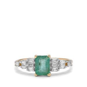 Zambian Emerald & White Zircon 9K Gold Ring ATGW 1.50cts