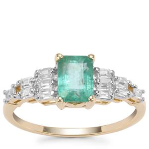 Zambian Emerald Ring with White Zircon in 9K Gold 1.50cts