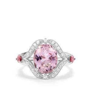 Kolum Kunzite, Pink Tourmaline & White Zircon Sterling Silver Ring ATGW 5.33cts