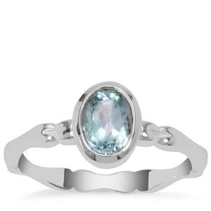 Blue Topaz Ring in Sterling Silver 1cts