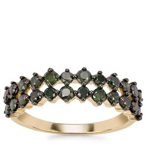 Green Diamond Ring in 10K Gold 1ct