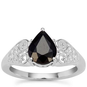 Madagascan Blue Sapphire Ring with White Zircon in Sterling Silver 1.96cts