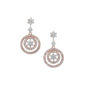 Diamond Earrings in Rose Gold Plated Sterling Silver 1.50cts