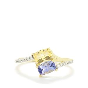 AA Tanzanite,Ouro Preto Imperial Topaz & White Zircon 10K Gold Ring ATGW 1.25cts