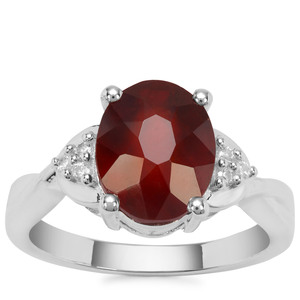 Gooseberry Grossular Garnet Ring with White Zircon in Sterling Silver 4.35cts