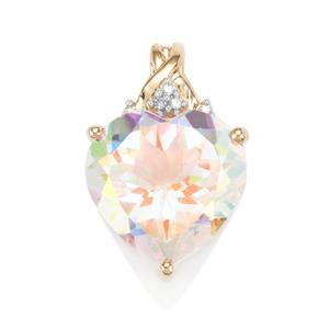Mercury Mystic Topaz Pendant with Diamond in 9K Gold 8.93cts
