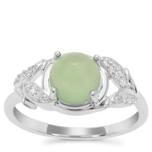 Imperial Serpentine Ring with White Zircon in Sterling Silver 1.63cts