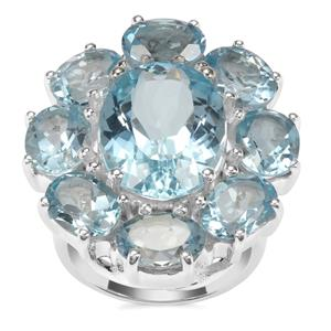 Sky Blue Topaz Ring in Sterling Silver 24cts