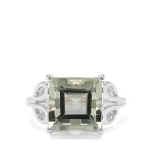 Prasiolite Ring in Sterling Silver 6.42cts