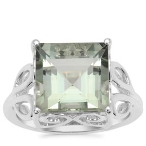 Prasiolite Ring in Sterling Silver 6.42cts