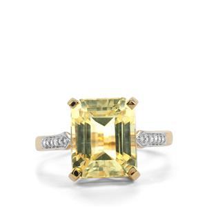 Canary Kunzite & Diamond 18K Gold Lorique Ring MTGW 6.70cts