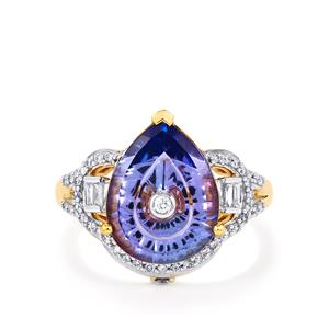 Lehrer TorusRing AA Tanzanite Ring with Diamond in 18k Gold 3.49cts