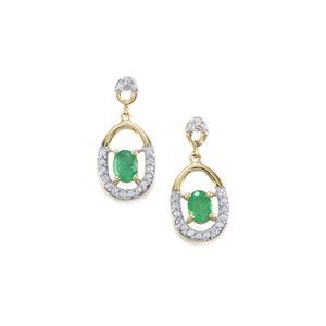 Zambian Emerald Earrings with White Zircon in 9K Gold 0.76ct
