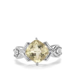 Chartreuse Sanidine & White Topaz Sterling Silver Ring ATGW 2.95cts