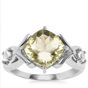 Chartreuse Sanidine Ring with White Topaz in Sterling Silver 2.95cts
