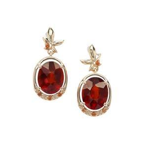 Gooseberry Grossular Garnet Earrings with Orange Sapphire in 9K Gold 6.11cts