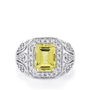 Green Gold Quartz & White Topaz Sterling Silver Ring ATGW 2.82cts