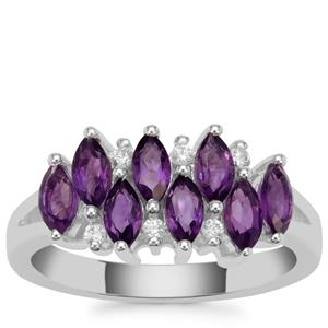 Zambian Amethyst Ring with White Zircon in Sterling Silver 1.45cts