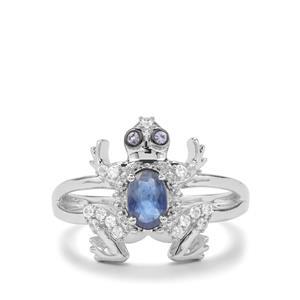 Australian Blue Sapphire, Tanzanite & White Zircon Sterling Silver Ring ATGW 0.70cts