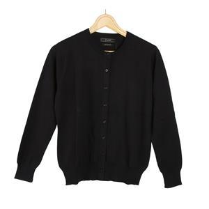 Daryl by Destello 100% Cotton Destello Alice Knitwear (Crew Neck Button Cardigan) (Black)