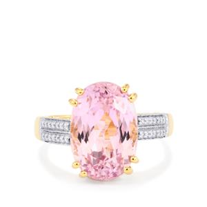Mawi Kunzite Ring with Diamond in 18K Gold 7.85cts
