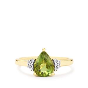 Cuprian Tourmaline Ring with Diamond in 18k Gold 1.70cts