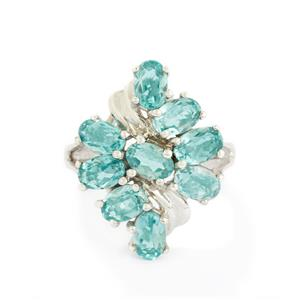 4.61ct Madagascan Blue Apatite Sterling Silver Ring