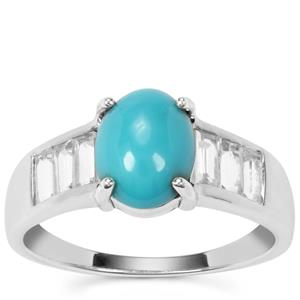 Sleeping Beauty Turquoise Ring with White Topaz in Sterling Silver 2.48cts