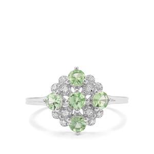 Tsavorite Garnet & Diamond 9K White Gold Ring ATGW 0.96cts