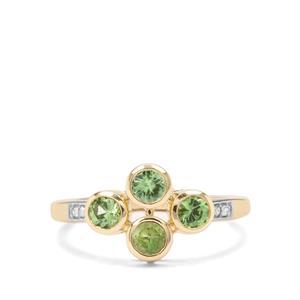 Tsavorite Garnet & Diamond 9K Gold Ring ATGW 0.75cts