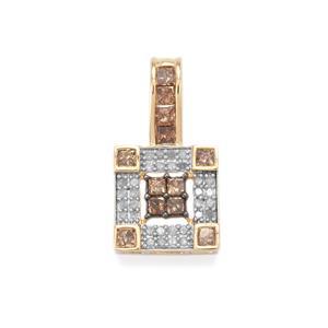 3/4ct Champagne & White Diamond 10K Gold Pendant