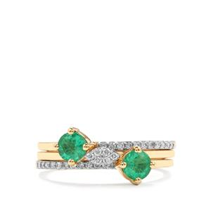Ethiopian Emerald Set of 3 Stacker Rings with Diamond in 18K Gold 0.76ct