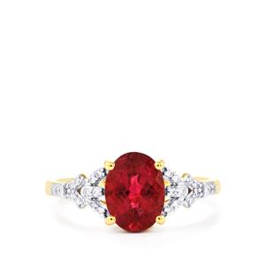 Cruzeiro Rubellite Ring with Diamond in 18K Gold 1.70cts