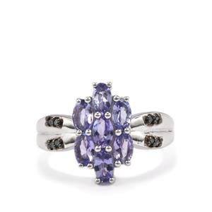 Tanzanite Ring with Blue Diamond in Sterling Silver 1.59cts