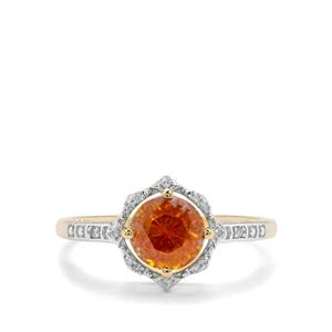 Aliva Sphalerite & Diamond 9K Gold Ring ATGW 1.45cts