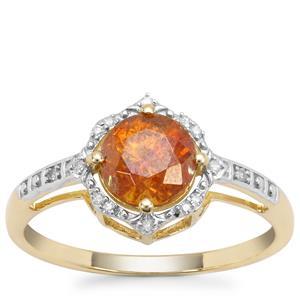 Aliva Sphalerite Ring with Diamond in 9K Gold 1.45cts