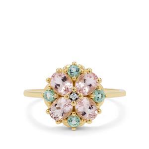 Cherry Blossom Morganite, Aquaiba™ Beryl Ring with Diamond in 9K Gold 1.45cts