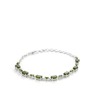 Chrome Diopside Bracelet with White Topaz in Sterling Silver 7.47cts
