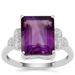 Zambian Amethyst Ring with White Zircon in Sterling Silver 4.45cts