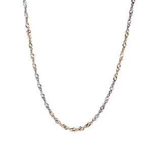 """20"""" 9k Two Tone Gold Couture Singapore Chain 2.36g"""