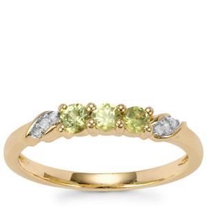 Ambanja Demantoid Garnet Ring with Diamond in 9K Gold 0.42ct