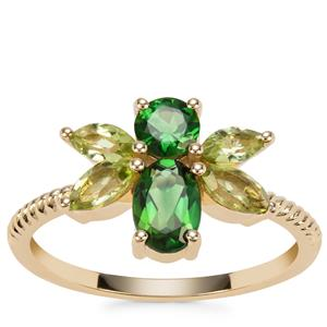 Chrome Tourmaline Bee Ring with Changbai Peridot in 9K Gold 1.39cts