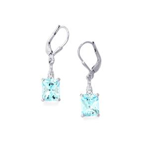 6.36ct Sky Blue & White Topaz Sterling Silver Earrings