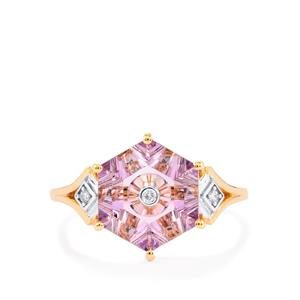 Lehrer TorusRing Rose De France Amethyst Ring with Diamond in 9K Rose Gold 2.87cts