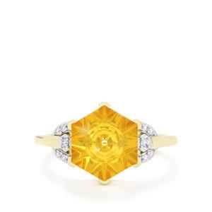 Lehrer QuasarCut Fire Opal & Diamond 10K Gold Ring ATGW 2.11cts
