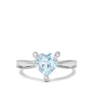 2.30ct Sky Blue & White Topaz Sterling Silver Ring