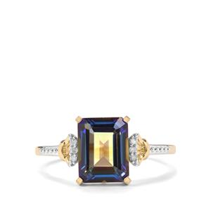 Mystic Blue Topaz Ring with Diamond in 9K Gold 2.85cts