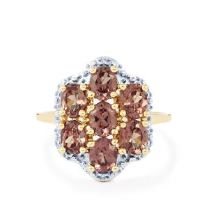 Bekily Colour Change Garnet & Diamond 9K Gold Ring ATGW 2.84cts