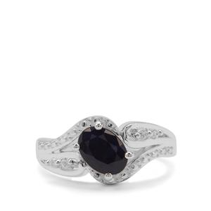 Madagascan Blue Sapphire & White Zircon Sterling Silver Ring ATGW 1.75cts